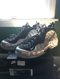 online store 43e21 04a46 Nike Air Foamposite Pro Metallic Silver sliver surfer Size 10 VNDS W  OG  Box