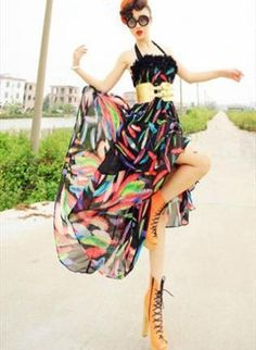 Colorful Irregular Halter Dress,  Dress, halter  black  dress  white  feather, Chic