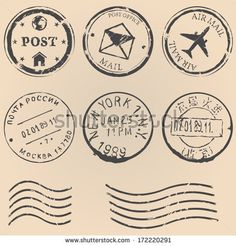 vector set of black postal stamps. mail post office air mail russian post american post new york china post wave stamp. Vasos Vintage, Office Stamps, Travel Stamp, Vintage Stamps, Vintage Postcards, Journal Stickers, Aesthetic Stickers, Travel Scrapbook, Printable Stickers