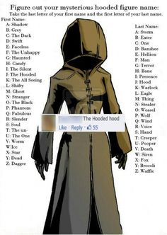 The Hooded Bane is mine. He's the new Moon Moon. Even though nobody can replace Moon Moon. Moon Moon, The Faceless, The Meta Picture, Name Games, What Is Your Name, Know Your Meme, Kingdom Hearts, Creepypasta, Looks Cool