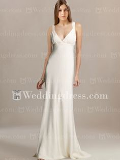 Sketchy website with fake faces, but I like this dress! Slim Satin V-neck Destination Wedding Gown BC105