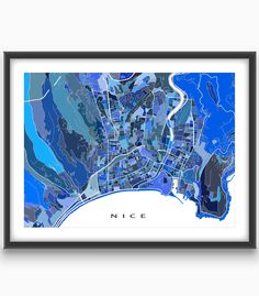 Planning a visit to beautiful and fashionable Nice #France on the Cote d'Azur? Then this Nice map art print is for you!  This city #map has a #moderndesign made from thousands of little #blue #shapes. Each shape is actually a #city block or a piece of land - and these shapes combine like a puzzle to form this #Nice #print. #TravelMap #NiceFrance