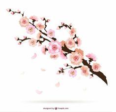 Ilustración de flores del cerezo