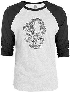 Big Texas Infinity Dragon Tattoo (Black) 3/4-Sleeve Raglan Baseball T-Shirt
