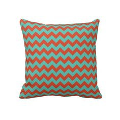 Cherry Red and Mint Green Zigzag Chevron Throw Pillow