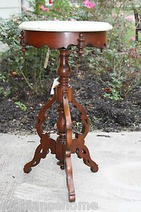 Fanciful Occasional Foyer Table Round Lamp Marble Antique Victorian