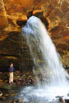 Dazzling Sights Available To Ozarks Region Hikers Include This Waterfall That Spills Through A Hole In
