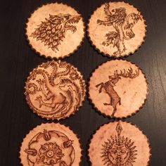 For all Game of Thrones lovers!!! Amazing hand drawn wood-burnt coasters!!