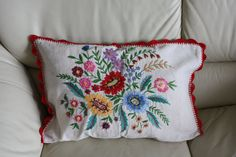 Vintage hand embroidered Hungarian cushion pillow cover Eastern European collectible antique folk art