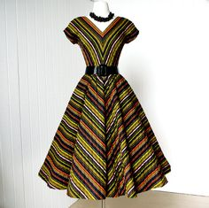 Sign in : vintage dress .fabulous ANNE FOGARTY chevron striped quilted full skirt pin-up party dress Vintage 1950s Dresses, Vintage Wear, Retro Dress, Vintage Looks, Vintage Clothing, Vintage Pins, Retro Outfits, Vintage Outfits, Cool Outfits