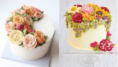 buttercream flowers cakes by Eat Cake Be Merry left, Queen of Hearts Couture Cakes right