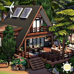 Sims 4 House Building, Sims House Plans, Granite Falls, Sims 4 House Design, Casas The Sims 4, Cute Cottage, Sims 4 Build, A Frame House, Construction