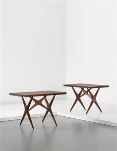 Ico Parisi; Stained Oak Dining Tables for Cavallini Restaurant in Milan by Cassina,1950s.
