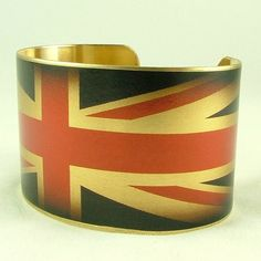 Union Jack Flag British Patriotic Brass Cuff by JezebelCharms, $40.00