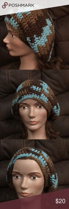 Slouchy Boho hat winter brown & teal Handmade Fashion slouchy hat Size adult or teen acrylic yarn Colors: brown tan and teal hand crochet in a smoke and pet free environment This item is made and ready to ship yarn hot off the hook Accessories Hats Boho Hat, Brown Teal, Slouchy Hat, Winter Colors, Yarn Colors, Hat Sizes, Beanie Hats, Hand Crochet, Women Accessories