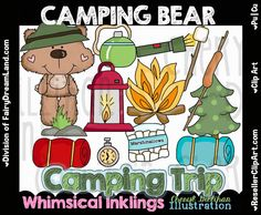 Camping Bear Clip Art - Commercial Use, Digital Image, Png, Clipart - Instant Download - Summer Camp, Smores, Forest, Travel, Hiking, Scout by ResellerClipArt on Etsy