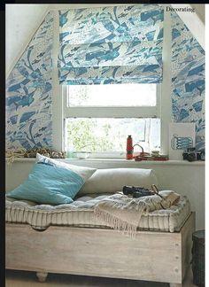 wonderful blind at triangular window - loft idea?