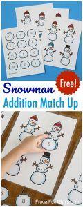 Snowman Addition Match-Up Math Activity