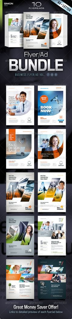 Buy Business Flyer/Ad Bundle Vol. by simon-cpx on GraphicRiver. Business Flyer/Ad Bundle Vol. 10 professional business flyer/ad templates – in both and Letter format. Web Design, Design Social, Layout Design, Creative Design, Print Design, Creative Flyers, Corporate Flyer, Corporate Design, Brochure Design