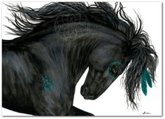 Majestic Horse Friesian Turquoise War Paint Native American Spirit Horse ArT- Giclee Print by Bihrle mm153