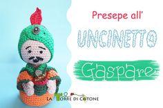 Presentazione nuovo personaggio presepe ad uncinetto: Gaspare #handmaderevolurion Yoshi, Nativity, Crochet Hats, Crafty, Christmas Ornaments, Holiday Decor, Fictional Characters, Inspiration, Lana