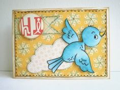 bluebird card using a cute digi stamp