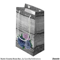 Rustic Country Roses Barn Wood Wedding Shower Small Gift Bag Vintage roses, rustic barn wood. Your charming country wedding awaits! Celebrate that special day with the timeless elegance of farmhouse styling! This design features photo-realistic weathered wood texture and vintage illustrations in a trendy, dramatic color palette. Coordinating gift bags are a special personal touch for the bridal shower or wedding party keepsake gifts!