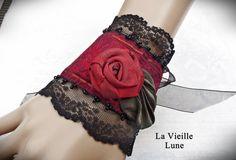 Lace Cuff Victorian Cuff Gothic Lace Wrist Cuff by LaVieilleLune