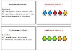 Jeu des petits monstres, pour travailler la logique et déduction, j'adore! Preschool Kindergarten, Teaching Math, Teaching Resources, Math 2, Fun Math, Bricolage Halloween, Montessori Math, Brain Breaks, Home Schooling