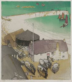 "John Edgar Platt(British, 1886-1967) ""The Jetty, Sennen Cove, Cornwall"", 1921 color woodcut. John Platt's bird's-eye-view of Sennen with the details of the fisherman preparing to take their boats and out and raising the sails as they leave the small harbour are unobtrusively fitted into the complex rhythms set up by all those large shapes along the beach. The would-be engineer and architect are all there in this print to bring the whole thing together."""