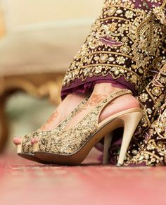 a3d06a52e4f Gold wedding shoes. Indian Bridal Photos