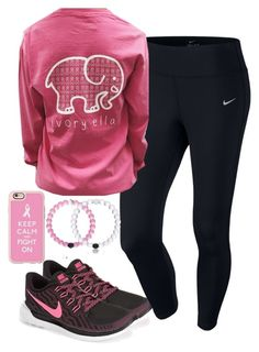 """Breast cancer game"" by keileeen ❤ liked on Polyvore featuring NIKE and Casetify"