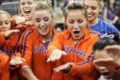 Even the gymnasts can't resist the GATOR CHOMP!!! Photo taken at the 2012 SEC Womens Gymnastics Championships