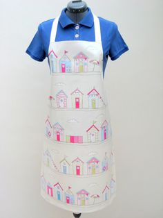 Beach Huts Print Adult PVC Apron Oilcloth Apron by OneLeggedGoose