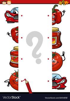 Cartoon education task of halves vector image on VectorStock Preschool Curriculum, Kids Learning Activities, Color Activities, Preschool Worksheets, Kindergarten Math, Infant Activities, Writing Activities, Kids Schedule, Kids Education