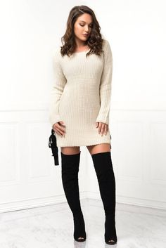 Close to Me Cream Sweater Dress – Fashion Effect Store