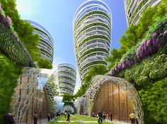 """Image 1 of 19 from gallery of Vincent Callebaut's 2050 Vision of Paris as a """"Smart City"""". View of the comprehensive city plan. Image Courtesy of Vincent Callebaut Architecture Green Architecture, Futuristic Architecture, Sustainable Architecture, Amazing Architecture, Chinese Architecture, Landscape Architecture, Sustainable City, Sustainable Design, Future City"""
