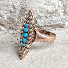 Lovely Antique Victorian Turquoise /& Seed Pearl Elongated Navette 14k Gold Ring Fine Jewelry R0605 Size 5 14 Vintage Ring