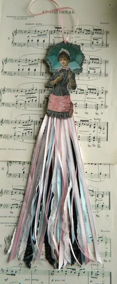 Paper Art Doll Vintage Style with Ribbon Skirt by JuliaPeculiar