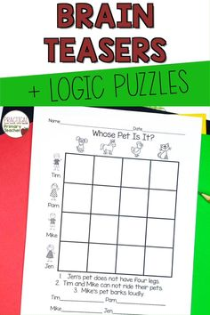 We love logic puzzles! Logic puzzles are perfect for teaching early problem solving and critical thinking skills for young learners. These introductory puzzles are great for early finishers, morning work, math stations, challenge work, and more! Critical Thinking Activities, Critical Thinking Skills, Love And Logic, Brain Teaser Puzzles, Logic Puzzles, Early Finishers, Problem Solving Skills, Math Stations, Morning Work