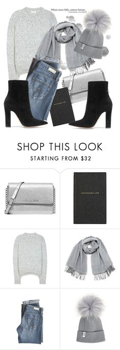 """Perfect strangers"" by kitty-kat9 ❤ liked on Polyvore featuring Michael Kors, Smythson, Acne Studios, Vero Moda, AG Adriano Goldschmied, Gianvito Rossi, modern, casual, grey and walk"