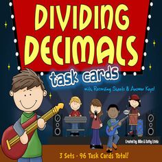 This dividing decimals pack has a total of ninety-six (96) task cards divided into three (3) sets. The problems have varying levels of difficulty which will provide excellent practice to students at all skill levels.