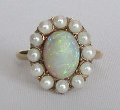 Opal and Pearl Antique Victorian Ring - Gorgeous Opal, Pearls, and 14K Yellow Gold Setting by Ringtique on Etsy