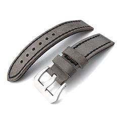 21mm Soft Italian Leather Donkey Grey Watch Strap with Black Stitches Brushed Buckle ** Click on the image for additional details.