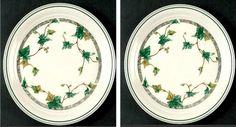 """Set of 2 Ivy Lane by Noritake Keltcraft Salad Plates 7-5/8"""" Green Ivory 9180 #Noritake"""