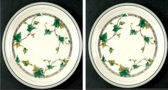 "Set of 2 Ivy Lane by Noritake Keltcraft Salad Plates 7-5/8"" Green Ivory 9180 #Noritake"