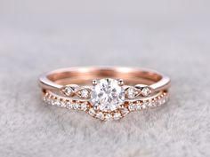 Moissanite Wedding Ring Set Diamond Matching Band Rose Gold Art Deco Curved Thin Pave Stacking Moissanite wedding ring set,BBBGEM have Forever Class,Forever Brilliant and Forever One Charles and Colvard Moissanite bridal sets. Infinity Ring Wedding, Wedding Rings Simple, Custom Wedding Rings, Beautiful Wedding Rings, Wedding Rings Rose Gold, Wedding Rings Vintage, Unique Rings, Wedding Jewelry, Wedding Bands
