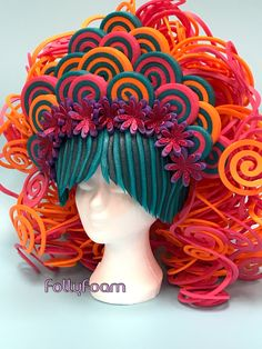 Buy foam in bright colors at FollyFoam Webshop! Headdress, Headpiece, Foam Wigs, Diy Wig, Silly Hats, Wig Hat, Mannequin Art, Circus Costume, Candy Art