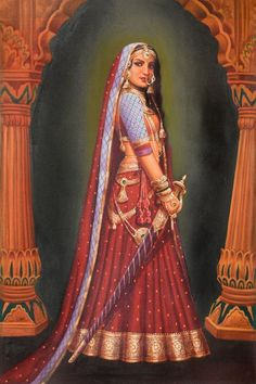 Portrait Drawing Lady with a Sword - Details for Lady with a Sword which belongs to the Oils category in our Paintings collection: Oil Painting on Canvas - Artist: Anup Gomay Rajasthani Painting, Rajasthani Art, Mughal Paintings, Indian Art Paintings, Oil Paintings, Indian Artwork, Acrylic Paintings, Bollywood Stars, Indian Women Painting