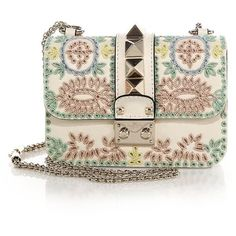 Valentino Lock Mini Beaded Crossbody Bag (67,285 MXN) ❤ liked on Polyvore featuring bags, handbags, bolsas, clutches, purses, valentino, apparel & accessories, watercolor, pink handbags and leather purses